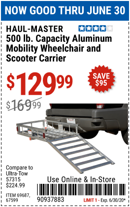 Harbor Freight Tools Coupons, Harbor Freight Coupon, HF Coupons-HAUL-MASTER 500 Lbs. Capacity Aluminum Mobility Wheelchair and Scooter Carrier for $129.99