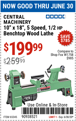 Harbor Freight Tools Coupons, Harbor Freight Coupon, HF Coupons-CENTRAL MACHINERY 10 in. x 18 in. 5 Speed 1/2 HP Benchtop Wood Lathe for $199.99