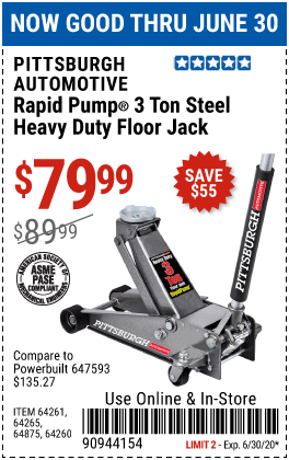 Harbor Freight Tools Coupons, Harbor Freight Coupon, HF Coupons-PITTSBURGH AUTOMOTIVE 3 ton Heavy Duty Rapid Pump Floor Jack for $79.99