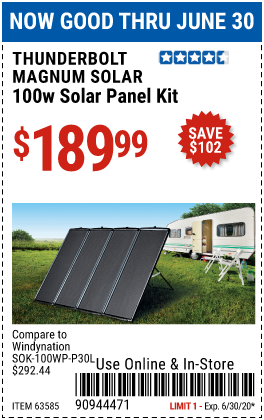 Harbor Freight Tools Coupons, Harbor Freight Coupon, HF Coupons-THUNDERBOLT MAGNUM SOLAR 100 Watt Solar Panel Kit for $189.99