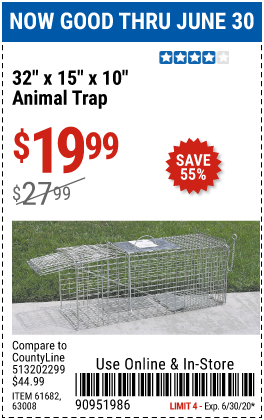 Harbor Freight Tools Coupons, Harbor Freight Coupon, HF Coupons-32 in. x 15 in. x 10 in. Medium Animal Trap for $19.99