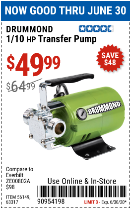 Harbor Freight Tools Coupons, Harbor Freight Coupon, HF Coupons-DRUMMOND 1/10 HP Transfer Pump for $49.99