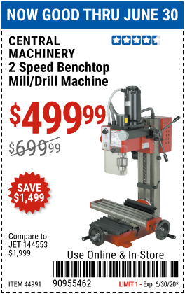Harbor Freight Tools Coupons, Harbor Freight Coupon, HF Coupons-CENTRAL MACHINERY 2 Speed Benchtop Mill/Drill Machine for $499.99