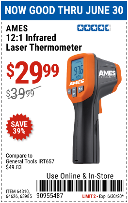 Harbor Freight Tools Coupons, Harbor Freight Coupon, HF Coupons-AMES 12:1 Infrared Laser Thermometer for $29.99