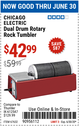 Harbor Freight Tools Coupons, Harbor Freight Coupon, HF Coupons-CHICAGO ELECTRIC Dual Drum Rotary Rock Tumbler for $42.99