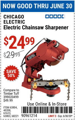 Harbor Freight Tools Coupons, Harbor Freight Coupon, HF Coupons-CHICAGO ELECTRIC Electric Chain Saw Sharpener for $24.99