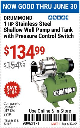 Harbor Freight Tools Coupons, Harbor Freight Coupon, HF Coupons-DRUMMOND 1 HP Stainless Steel Shallow Well Pump and Tank with Pressure Control Switch for $134.99