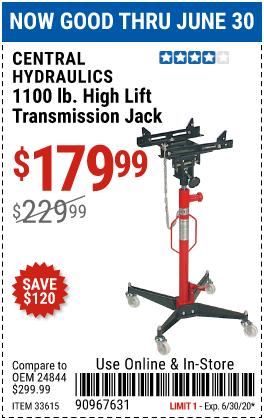 Harbor Freight Tools Coupons, Harbor Freight Coupon, HF Coupons-CENTRAL HYDRAULICS 1100 lb. High Lift Transmission Jack for $179.99