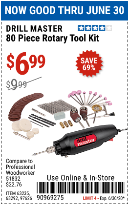 Harbor Freight Tools Coupons, Harbor Freight Coupon, HF Coupons-DRILL MASTER Rotary Tool Kit 80 Pc. for $6.99