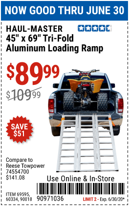 Harbor Freight Tools Coupons, Harbor Freight Coupon, HF Coupons-HAUL-MASTER 1500 lb. Capacity Tri-Fold Aluminum Loading Ramp for $89.99