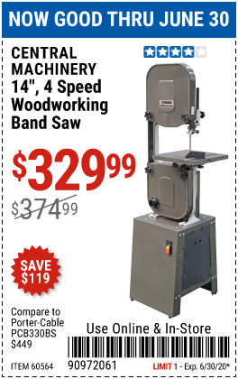 Harbor Freight Tools Coupons, Harbor Freight Coupon, HF Coupons-CENTRAL MACHINERY 14 in. 4 Speed Woodworking Band Saw for $329.99