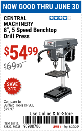 Harbor Freight Tools Coupons, Harbor Freight Coupon, HF Coupons-CENTRAL MACHINERY 8 in. 5 Speed Bench Drill Press for $54.99