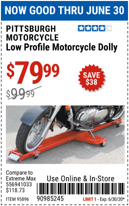 Harbor Freight Tools Coupons, Harbor Freight Coupon, HF Coupons-PITTSBURGH 1250 lb. Capacity Low Profile Motorcycle Dolly for $79.99