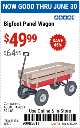 Harbor Freight Tools Coupons, Harbor Freight Coupon, HF Coupons-HAUL-MASTER Bigfoot Panel Wagon for $49.99