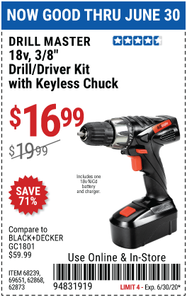 Harbor Freight Tools Coupons, Harbor Freight Coupon, HF Coupons-DRILL MASTER 18V 3/8 in. Cordless Drill/Driver Kit With Keyless Chuck 21 Clutch Settings for $16.99