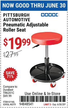 Harbor Freight Tools Coupons, Harbor Freight Coupon, HF Coupons-PITTSBURGH AUTOMOTIVE Pneumatic Roller Seat for $19.99