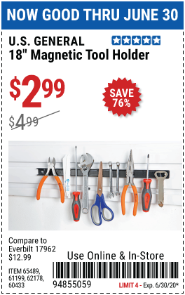 Harbor Freight Tools Coupons, Harbor Freight Coupon, HF Coupons-U.S. GENERAL 18 in. Magnetic Tool Holder for $2.99