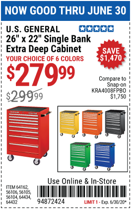 Harbor Freight Tools Coupons, Harbor Freight Coupon, HF Coupons-U.S. GENERAL 26 in. x 22 In. Single Bank Roller Cabinet for $279.99