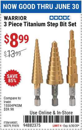 Harbor Freight Tools Coupons, Harbor Freight Coupon, HF Coupons-WARRIOR Titanium High Speed Steel Step Bit Set 3 Pc. for $8.99