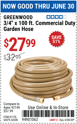 Harbor Freight Tools Coupons, Harbor Freight Coupon, HF Coupons-GREENWOOD 3/4 in. x 100 ft. Commercial Duty Garden Hose for $27.99