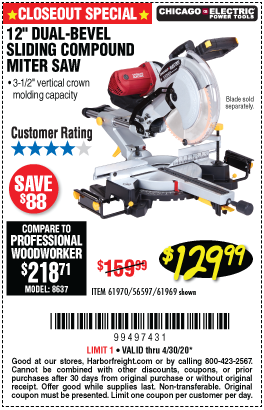 Harbor Freight Tools Coupons, Harbor Freight Coupon, HF Coupons-CHICAGO ELECTRIC 12 in. Dual-Bevel Sliding Compound Miter Saw for $129.99
