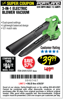 Harbor Freight Tools Coupons, Harbor Freight Coupon, HF Coupons-PORTLAND 3-In-1 Electric Blower Vacuum Mulcher for $39.99
