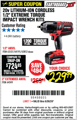 Harbor Freight Tools Coupons, Harbor Freight Coupon, HF Coupons-EARTHQUAKE XT 20V Max Lithium 1/2 In. Cordless Xtreme Torque Impact Wrench Kit for $229.99
