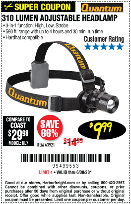 Harbor Freight Tools Coupons, Harbor Freight Coupon, HF Coupons-QUANTUM 310 Lumen Headlamp for $9.99