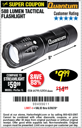 Harbor Freight Tools Coupons, Harbor Freight Coupon, HF Coupons-QUANTUM 588 Lumen Tactical Flashlight for $9.99