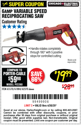 Harbor Freight Tools Coupons, Harbor Freight Coupon, HF Coupons-CHICAGO ELECTRIC 6 Amp Heavy Duty Variable Speed Rotating Handle Reciprocating Saw for $19.99