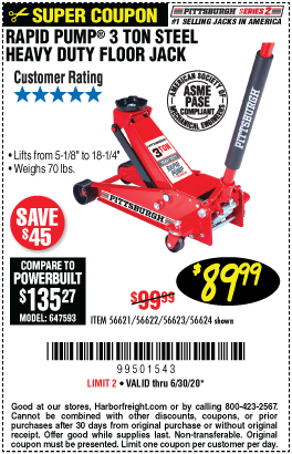 Harbor Freight Tools Coupons, Harbor Freight Coupon, HF Coupons-PITTSBURGH AUTOMOTIVE 3 Ton Steel Heavy Duty Floor Jack With Rapid Pump for $89.99