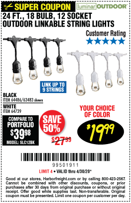 Harbor Freight Tools Coupons, Harbor Freight Coupon, HF Coupons-LUMINAR OUTDOOR 24 Ft. 12 Bulb Outdoor String Lights for $19.99