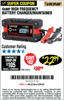 Harbor Freight Tools Coupons, Harbor Freight Coupon, HF Coupons-VIKING 4 Amp Fully Automatic Microprocessor Controlled Battery Charger/Maintainer for $22.99