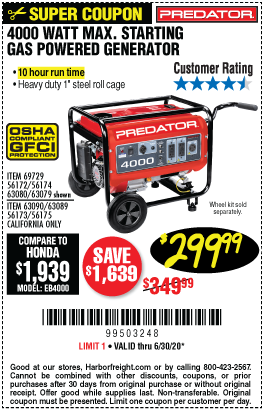 Harbor Freight Tools Coupons, Harbor Freight Coupon, HF Coupons-PREDATOR 4000 Watt Max Starting Gas Powered Generator for $299.99