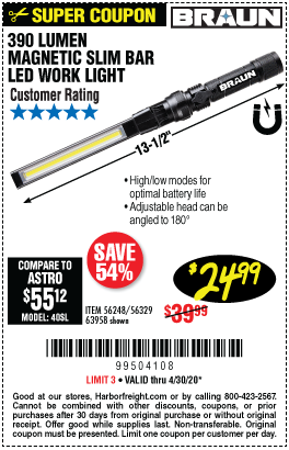 Harbor Freight Tools Coupons, Harbor Freight Coupon, HF Coupons-BRAUN 390 Lumen Magnetic Slim Bar Folding LED Work Light for $24.99