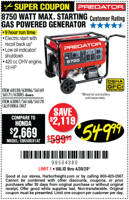 Harbor Freight Tools Coupons, Harbor Freight Coupon, HF Coupons-PREDATOR 8750 Watt Max Starting Gas Powered Generator for $549.99