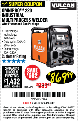 Harbor Freight Tools Coupons, Harbor Freight Coupon, HF Coupons-VULCAN OmniPro 220 Industrial Multiprocess Welder With 120/240 Volt Input for $869.99