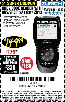 Harbor Freight Tools Coupons, Harbor Freight Coupon, HF Coupons-ZURICH ZR13 OBD2 Code Reader With ABS/SRS/FixAssist for $149.99