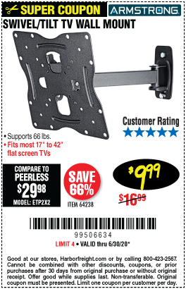Harbor Freight Tools Coupons, Harbor Freight Coupon, HF Coupons-ARMSTRONG 17 In. To 42 In. Swivel/Tilt TV Wall Mount for $9.99
