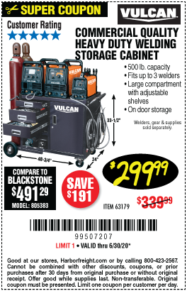 Harbor Freight Tools Coupons, Harbor Freight Coupon, HF Coupons-VULCAN Heavy Duty Large Welding Cabinet for $299.99