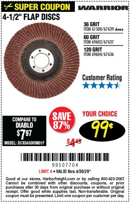 Harbor Freight Tools Coupons, Harbor Freight Coupon, HF Coupons-WARRIOR 4-1/2 in. 36 Grit Flap Disc for $0.99