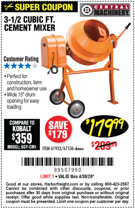 Harbor Freight Tools Coupons, Harbor Freight Coupon, HF Coupons-CENTRAL MACHINERY 3-1/2 Cubic Ft. Cement Mixer for $179.99