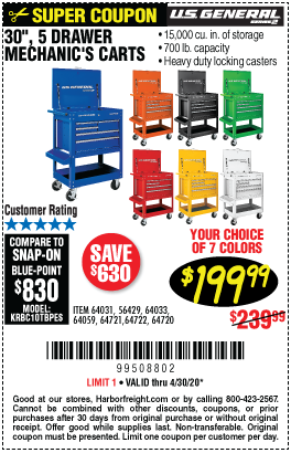 Harbor Freight Tools Coupons, Harbor Freight Coupon, HF Coupons-U.S. GENERAL Series 2 30 In. 5 Drawer Mechanic's Cart for $199.99