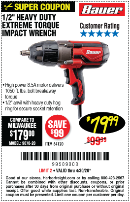 Harbor Freight Tools Coupons, Harbor Freight Coupon, HF Coupons-BAUER 1/2 In. Heavy Duty Extreme Torque Impact Wrench for $79.99