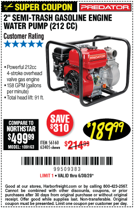 Harbor Freight Tools Coupons, Harbor Freight Coupon, HF Coupons-PREDATOR 2 in. 212cc Gasoline Engine Semi-Trash Water Pump for $189.99