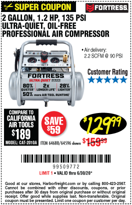 Harbor Freight Tools Coupons, Harbor Freight Coupon, HF Coupons-FORTRESS 2 gallon 1.2 HP 135 PSI Ultra Quiet Oil-Free Professional Air Compressor for $129.99