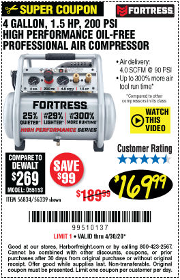 Harbor Freight Tools Coupons, Harbor Freight Coupon, HF Coupons-FORTRESS 4 Gallon 1.5 HP 200 PSI Oil-Free Professional Air Compressor for $169.99