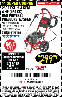 Harbor Freight Tools Coupons, Harbor Freight Coupon, HF Coupons-PREDATOR 2500 PSI 2.4 GPM 4 HP (160cc) Pressure Washer EPA/CARB for $299.99