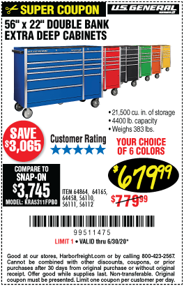 Harbor Freight Tools Coupons, Harbor Freight Coupon, HF Coupons-U.S. GENERAL 56 in. Double Bank Roller Cabinet for $679.99