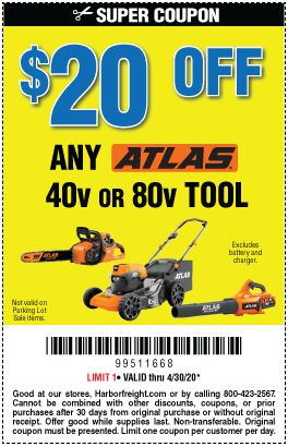 Harbor Freight Tools Coupons, Harbor Freight Coupon, HF Coupons-$20 Off Your ATLAS Bare Tool